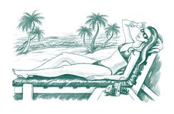 Sunbathing woman. Handdrawn illustration of young woman sunbathing on the sea beach with palms Royalty Free Stock Photo