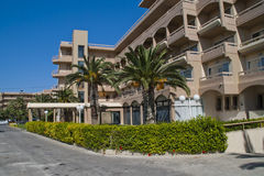 Sunbeach hotel. A four star hotel located in ixia on rhodes, image is shot from the driveway to the hotel Stock Image