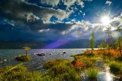 Sunbeam. Autumn at Jack London Lake Stock Photo