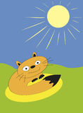 Sunbeam Attack. Illustration of cat under the sun Royalty Free Illustration