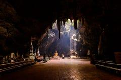 Sunbeam in buddha cave, Tham Khao Luang near Phetchaburi,Thailan Royalty Free Stock Photography