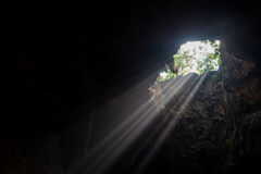 Sunbeam in the cave Stock Images
