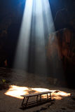Sunbeam into the cave Royalty Free Stock Images