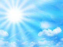 sunbeam för blå sky royaltyfria bilder