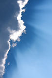 Sunbeam  through the haze on blue sky. Can be used as background and dramatic look Royalty Free Stock Photography