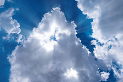 Sunbeam through the haze. On blue sky Stock Image
