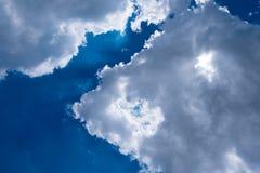 Sunbeam through the haze. On blue sky Stock Photography