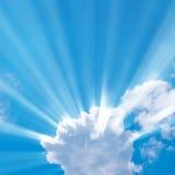 Sunbeam through the haze. On blue sky Royalty Free Stock Photo