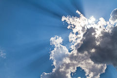 Sunbeam through the haze on blue sky: can be used as background Royalty Free Stock Photos