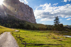 Sunbeam. Mountain trail lighted by sunbeam royalty free stock photos
