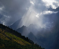 Sunbeam in mountains Stock Photo