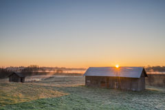 Sunbeam over the barn Royalty Free Stock Image