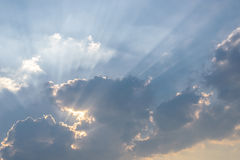 Sunbeam over cloud on sunny day Royalty Free Stock Photo