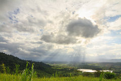 Sunbeam over lake and mountain in Khao Kho District Stock Images
