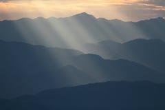 Sunbeam over mountain Royalty Free Stock Photo