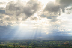 Sunbeam over mountain in Khao Kho District Royalty Free Stock Photo