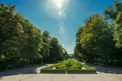 Sunbeam over pathway on green garden in a park of Madrid royalty free stock photography