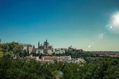 Sunbeam over Royal Palace and Almudena Cathedral in Madrid royalty free stock photography