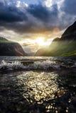 Sunbeam przy fjord zdjęcia stock