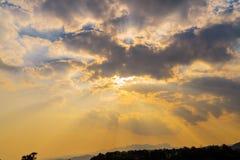 Sunbeam ray light cloud sky twilight color.  Stock Photo