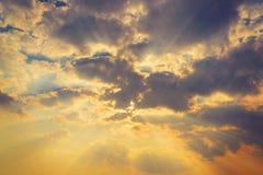 Sunbeam ray light cloud sky twilight color.  Royalty Free Stock Image