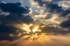 Sunbeam ray light cloud sky twilight color Royalty Free Stock Images