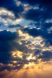Sunbeam ray light cloud sky twilight color Royalty Free Stock Photo