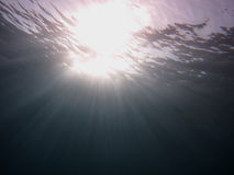Sunbeam on the sea surface Stock Photos