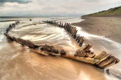 Sunbeam ship wreck. The Sunbeam ship wreck on the Rossbeigh beach, Ireland Royalty Free Stock Images