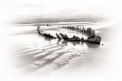 The Sunbeam ship wreck in BW. The Sunbeam ship wreck on the Rossbeigh beach, Ireland Stock Photo