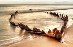 The Sunbeam ship wreck on the Rossbeigh beach Royalty Free Stock Image