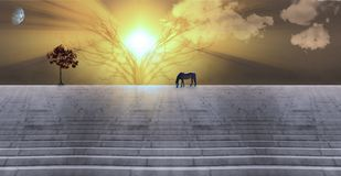 In Sunbeams. Bright sunbeams. Dusk or dawn. Horse grazes on stone stairs. Tree with red leafs. 3D rendering Stock Photos