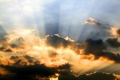 Sunbeams and clouds. Fantasy beautiful sunbeams and clouds Stock Photography