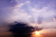 Sunbeams and clouds Royalty Free Stock Image