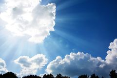 Sunbeams and clouds. Royalty Free Stock Images
