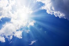 Sunbeams and clouds. Royalty Free Stock Photos