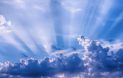 Sunbeams through the clouds Royalty Free Stock Images
