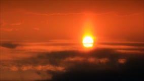 Sunbeams on clouds in sunrise stock footage