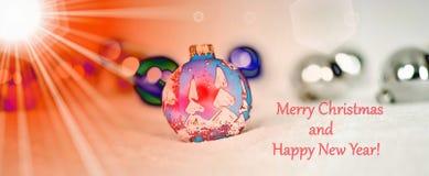 The sunbeams illuminate the Christmas decorations vector illustration