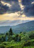 Sunbeams Light Rays Over Appalachian Blue Ridge. Sunbeams Light Rays Over Southern Appalachian Blue Ridge Mountains at dramatic summer sunset Royalty Free Stock Image