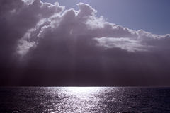 Sunbeams over the Atlantic ocean Royalty Free Stock Image