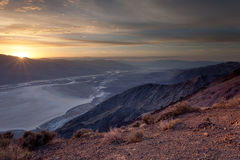 Sunbeams over Badwater Basin, Death Valley Royalty Free Stock Images