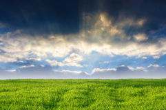 Sunbeams over country Royalty Free Stock Photo