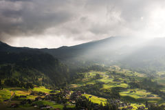 Sunbeams over Grund, Switzerland Royalty Free Stock Photos