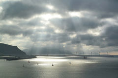 Sunbeams on the sea Stock Images