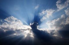 Sunbeams in the sky Stock Photos