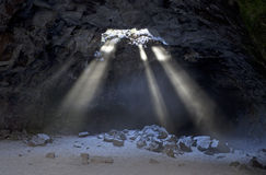 Sunbeams From Skylight In Cave Royalty Free Stock Photos