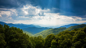 Sunbeams and Storm Clouds Over Appalachian Mountains From Blue R Stock Photos