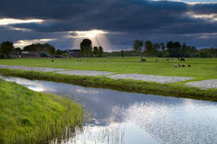 Sunbeams through storm sky over farmland Stock Images