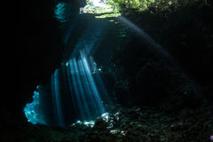 Sunbeams and Submerged Cavern Royalty Free Stock Image